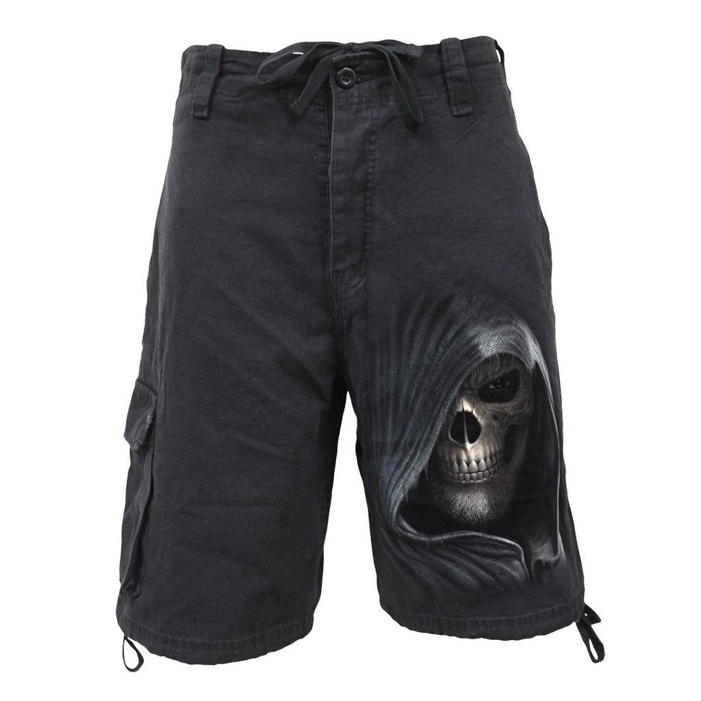 DARKNESS - Vintage Cargo Shorts Black - Spiral USA