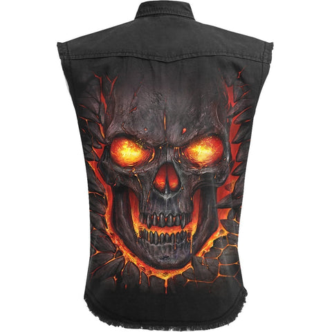 SKULL LAVA - Sleeveless Stone Washed Worker Black - Spiral USA