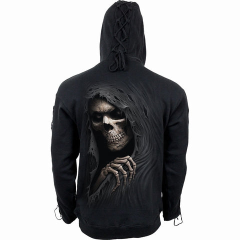 Image of GRIM RIPPER - Gothic Black Strap Hoody Black - Spiral USA