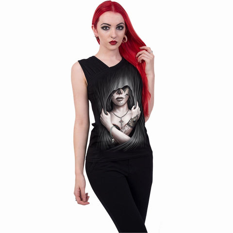 DEAD LOVE - Gathered Shoulder Slant Vest Black - Spiral USA