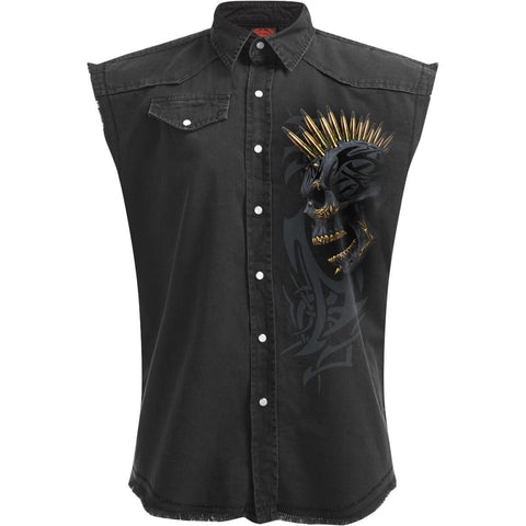 BLACK GOLD - Sleeveless Stone Washed Worker Black - Spiral USA
