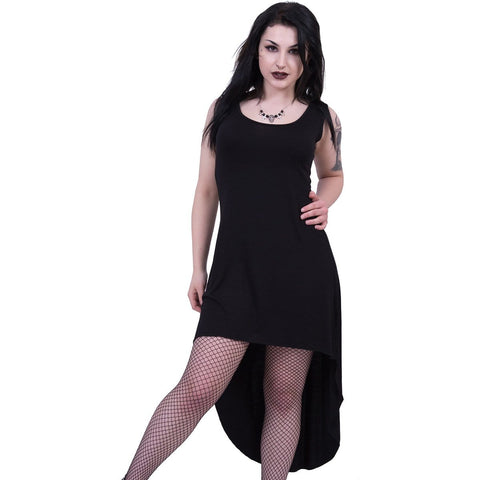 GOTHIC ELEGANCE - Gothic High-Low Hem Dress Black - Spiral USA