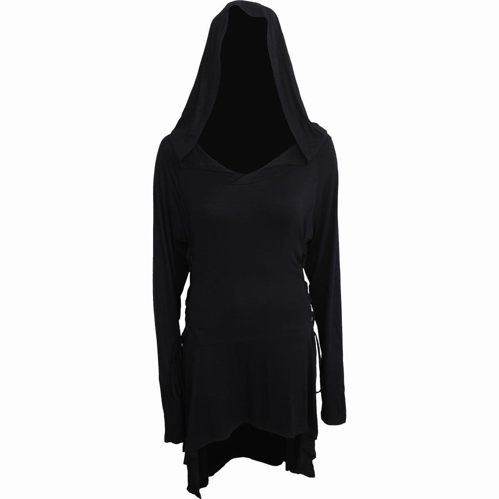 GOTHIC ELEGANCE - Black Widow Gothic Hooded Dress - Spiral USA