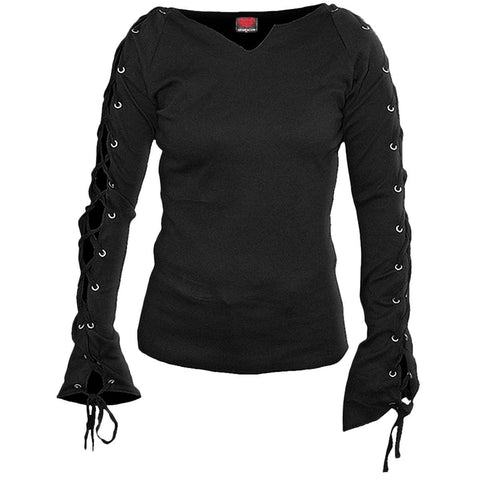 GOTHIC ELEGANCE - Laceup Sleeve Top Black - Spiral USA