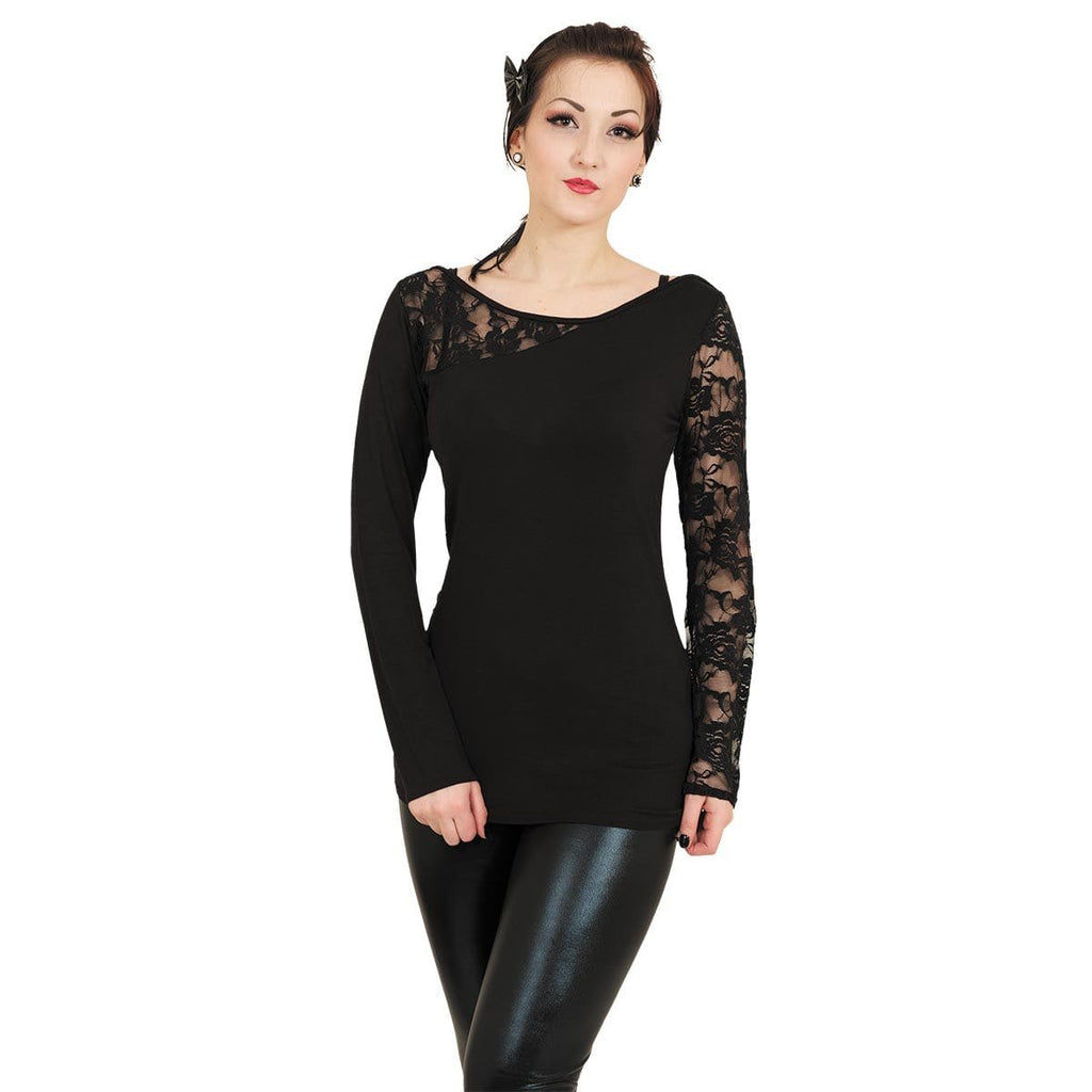 GOTHIC ELEGANCE - Lace One Shoulder Top Black - Spiral USA