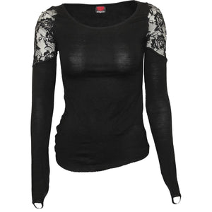 GOTHIC ELEGANCE - Shoulder Lace Top Black - Spiral USA