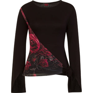 GOTHIC ELEGANCE - Blood Rose Sash Wrap Goth Sleeve Top - Spiral USA
