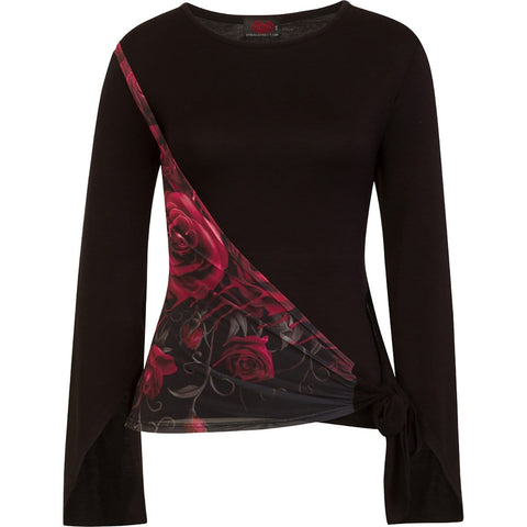 Image of GOTHIC ELEGANCE - Blood Rose Sash Wrap Goth Sleeve Top - Spiral USA