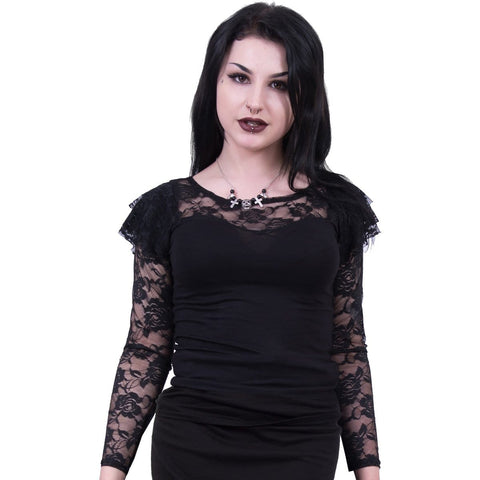 GOTHIC ELEGANCE - Lace Layered Long Sleeve Top Black - Spiral USA