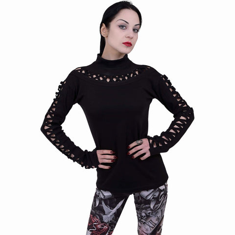 Image of GOTHIC ELEGANCE - Watefall Slits Longsleeve Top - Spiral USA