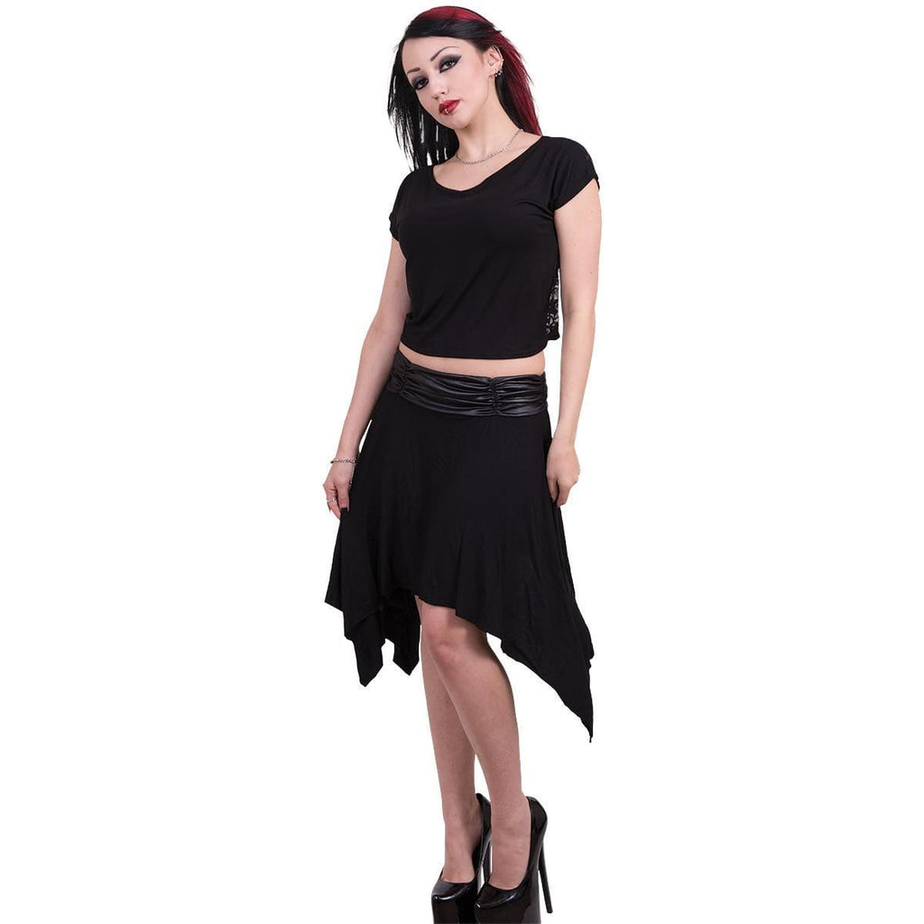 GOTHIC ELEGANCE - Lace Back Crop Top Black - Spiral USA