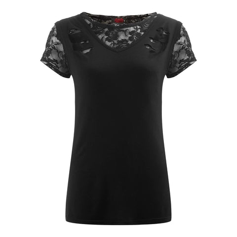 Image of GOTHIC ELEGANCE - 2in1 Ripped Black Lace Top - Spiral USA