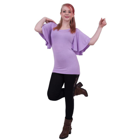 Image of GOTHIC ELEGANCE - Boat Neck Bat Sleeve Top Purple - Spiral USA