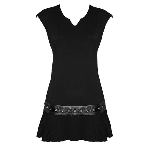 GOTHIC ROCK - Stud Waist Mini Dress Black - Spiral USA