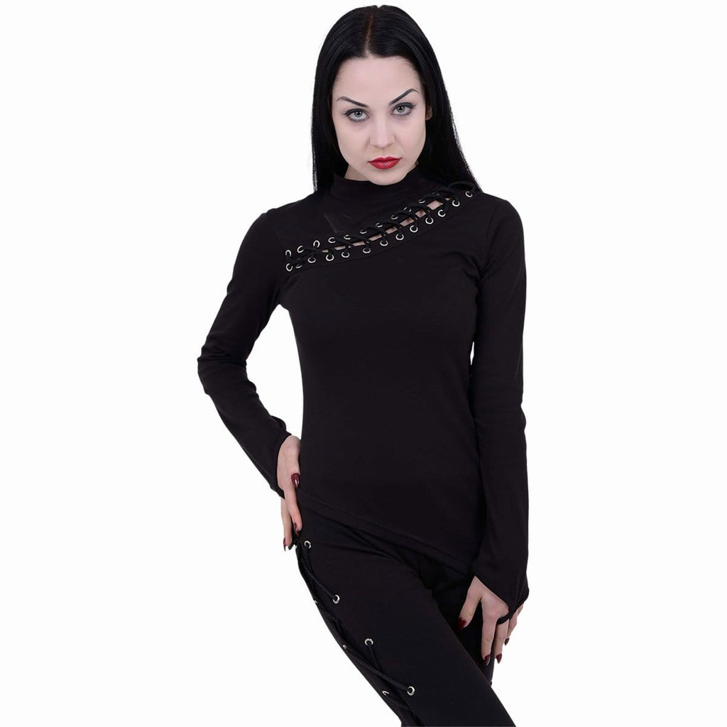 GOTHIC ROCK - Slant Lace Up Longsleeve Top - Spiral USA