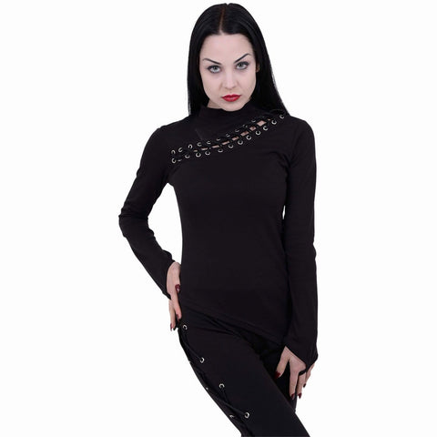 Image of GOTHIC ROCK - Slant Lace Up Longsleeve Top - Spiral USA