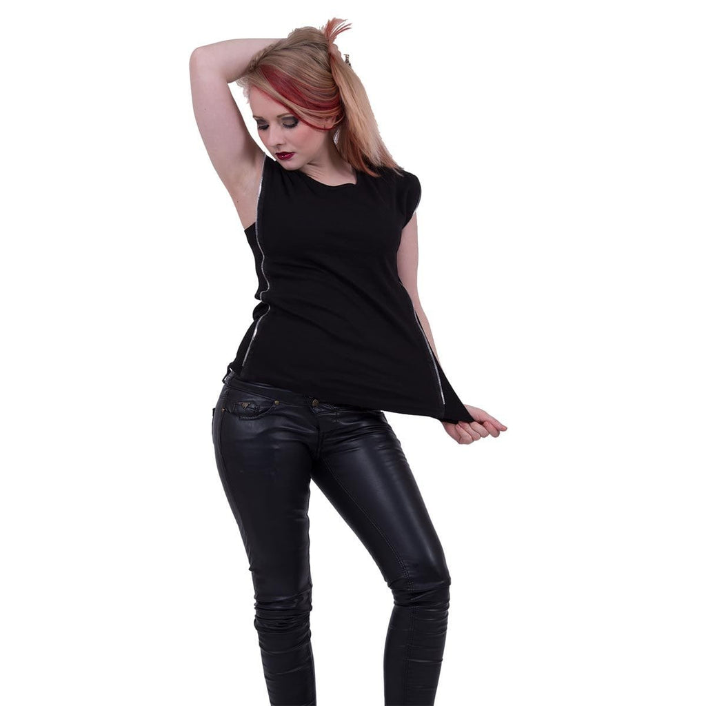 GOTHIC ROCK - Zip Side Ribbed Gothic Ladies Top - Spiral USA