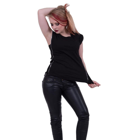 Image of GOTHIC ROCK - Zip Side Ribbed Gothic Ladies Top - Spiral USA