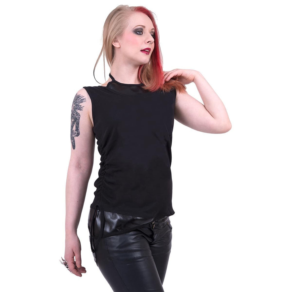 GOTHIC ROCK - 2in1 PU Leather Vest - Spiral USA