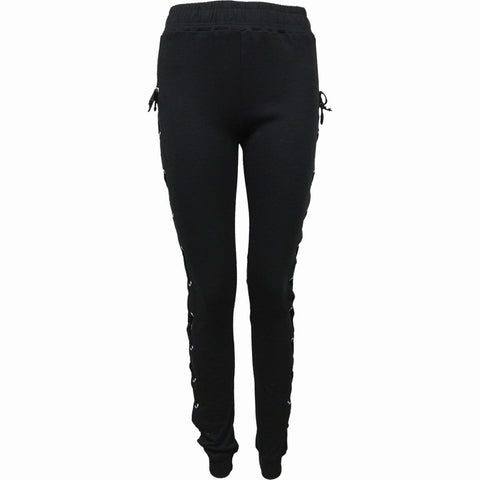 GOTHIC ROCK - High Waisted Side Lace Up Leggings - Spiral USA