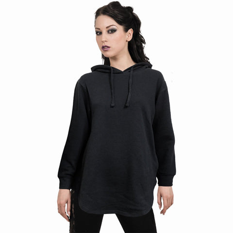 Image of METAL STREETWEAR - Ladies Dipped Hem Oversized Hoodie - Spiral USA