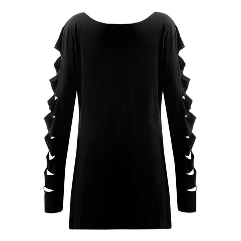Image of METAL STREETWEAR - Slashed Sleeve Boatneck Top - Spiral USA