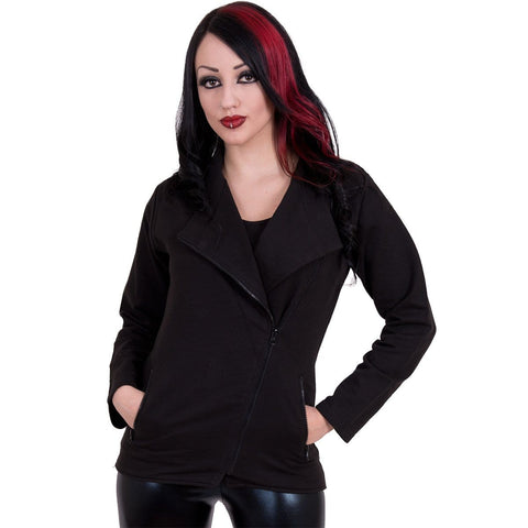 METAL STREETWEAR - Slant Zip Women Biker Jacket Black - Spiral USA
