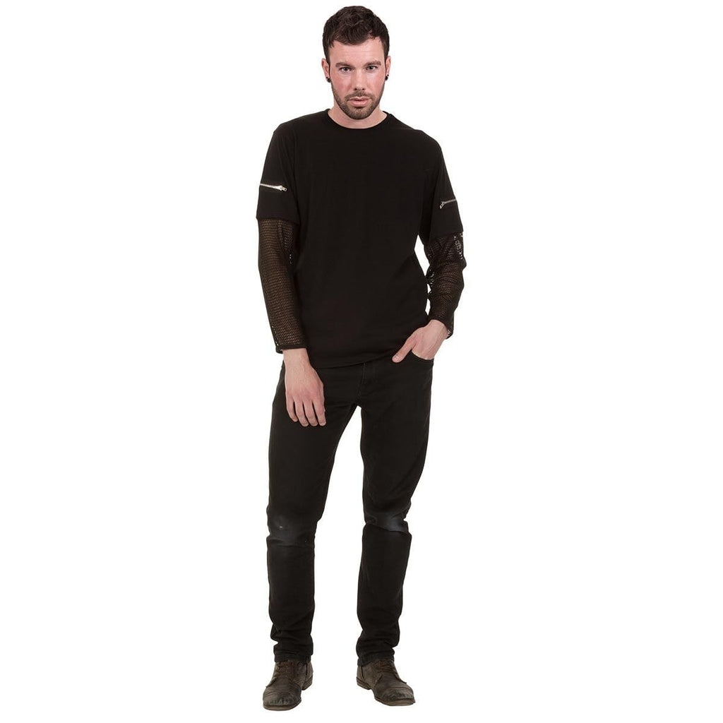 METAL STREETWEAR - Mesh Sleeve Zip Shoulder Long Sleeve Mens - Spiral USA