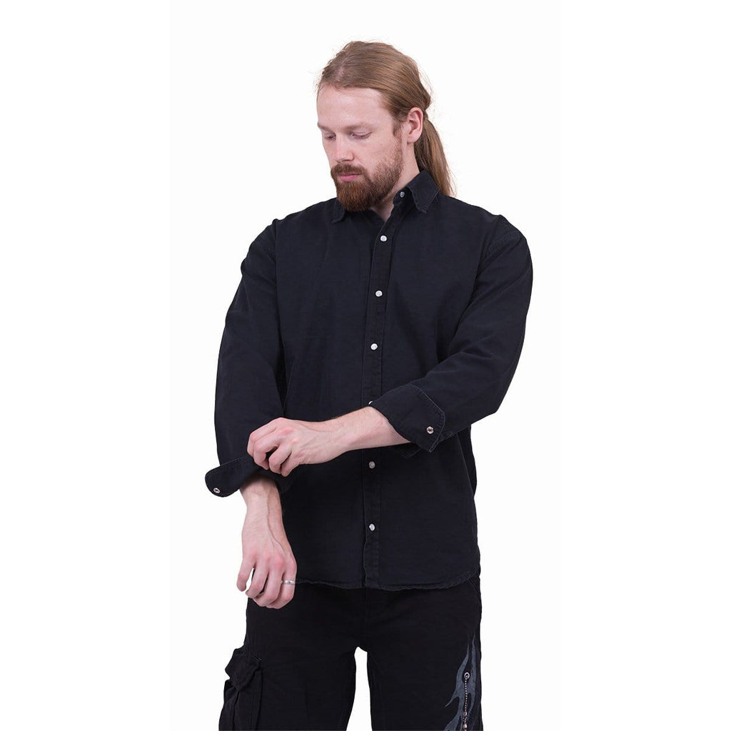 METAL STREETWEAR - Longsleeve Stone Washed Worker Black - Spiral USA