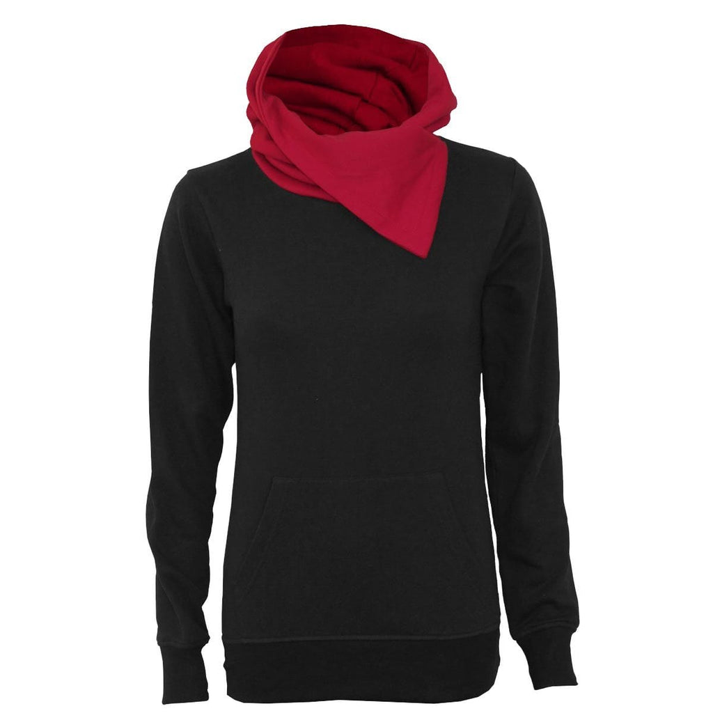 URBAN FASHION - Shawl Neck Red Hood Kangaroo Top Black - Spiral USA