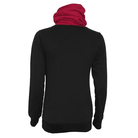 URBAN FASHION - Shawl Neck Red Hood Kangaroo Top Black