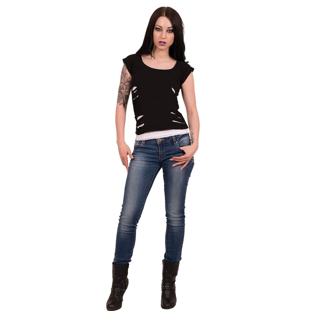 URBAN FASHION - 2in1 White Ripped Top Black - Spiral USA