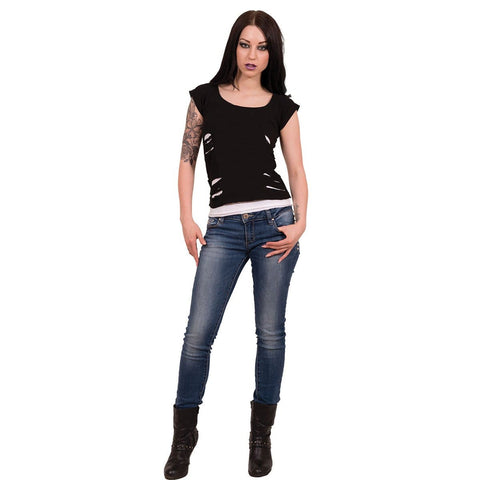 Image of URBAN FASHION - 2in1 White Ripped Top Black - Spiral USA