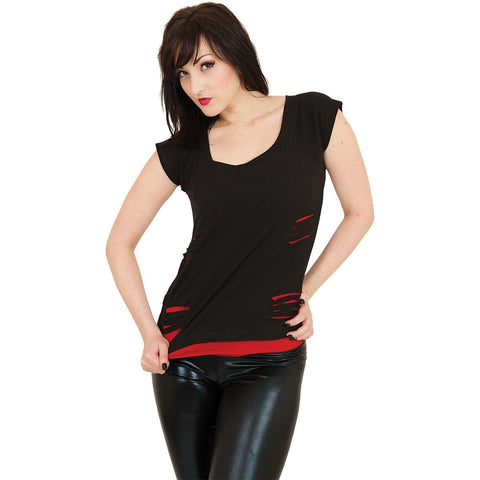 URBAN FASHION - 2in1 Red Ripped Top Black