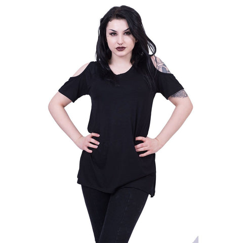 URBAN FASHION - Cold Shoulder Goth Bottom Top - Spiral USA
