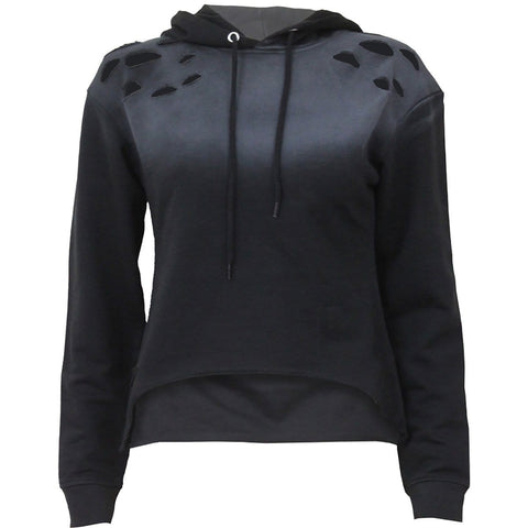 Image of URBAN FASHION - Distressed Spray On Ladies Hoody - Spiral USA