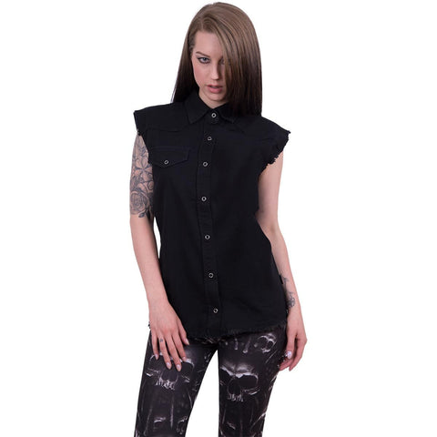 Image of URBAN FASHION - Sleeveless Worker Shirt Black - Spiral USA
