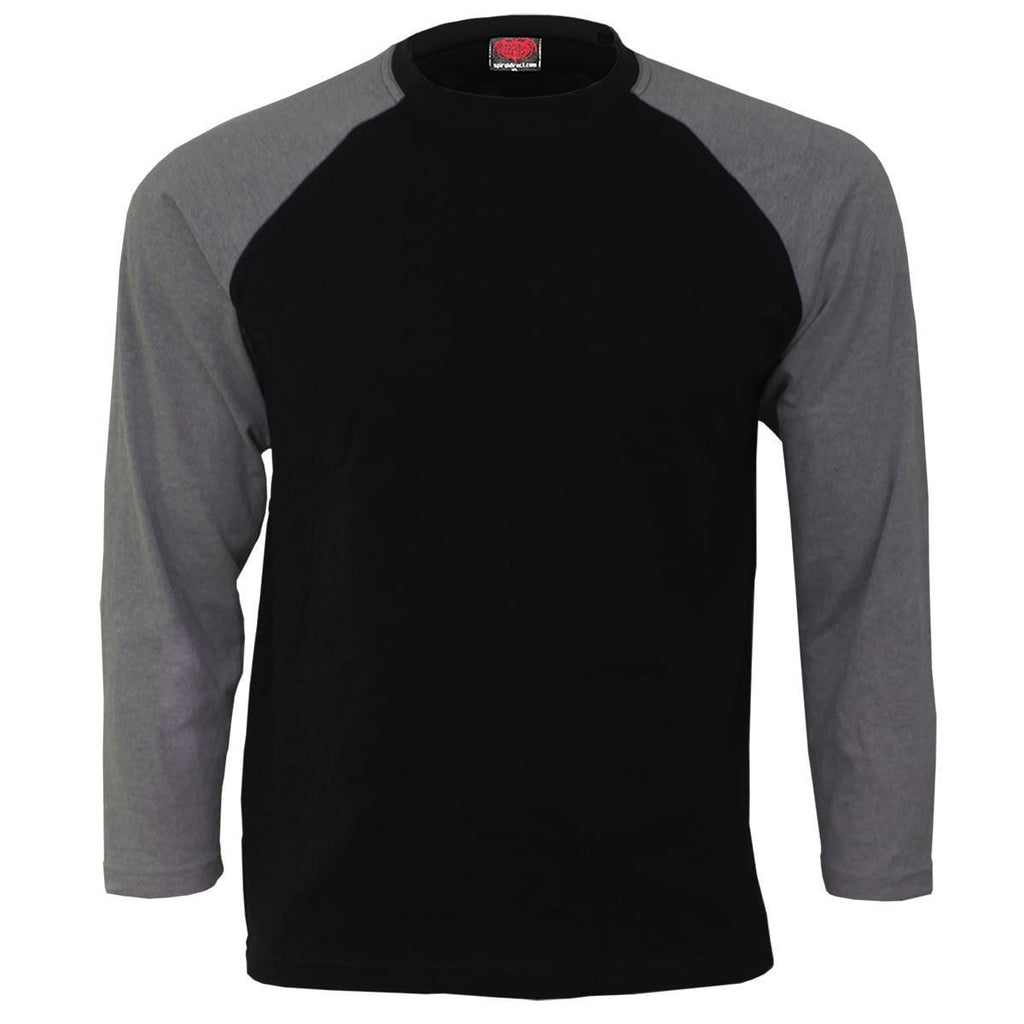 URBAN FASHION - Raglan Contrast Longsleeve Charcoal Black - Spiral USA