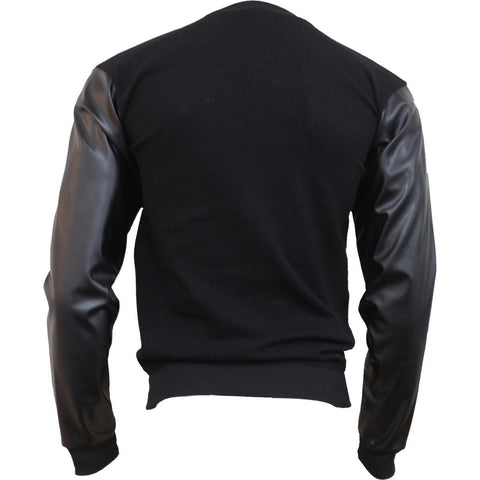 Image of URBAN FASHION - Bomber Jacket with PU Leather Sleeves - Spiral USA