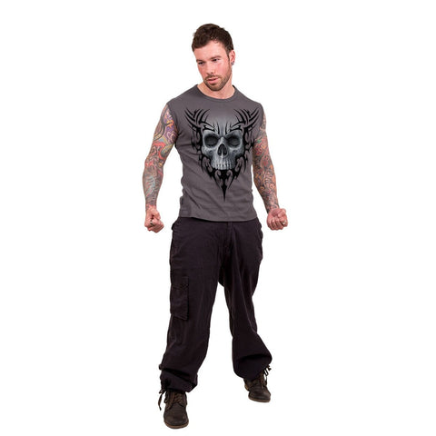 SOLEMN SKULL - Sleeveless T-Shirt Charcoal - Spiral USA