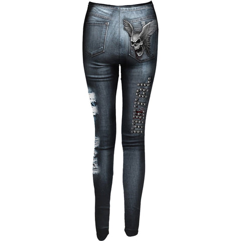 TORN DENIM AO - Allover Comfy Fit Leggings Black - Spiral USA