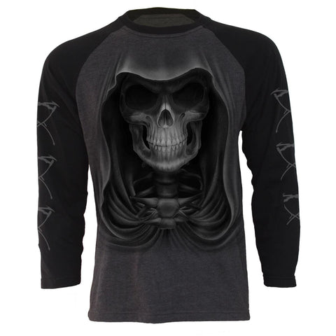Image of DEATH - Raglan Contrast Longsleeve Black Charcoal - Spiral USA