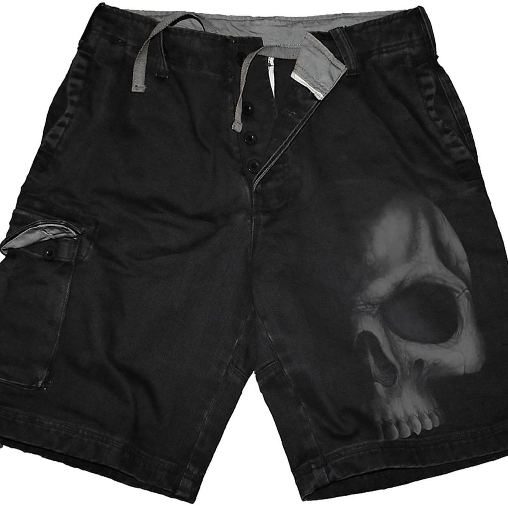 SHADOW SKULL (GREY) - Vintage Cargo Shorts Black - Spiral USA