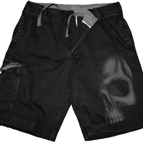 Image of SHADOW SKULL (GREY) - Vintage Cargo Shorts Black - Spiral USA