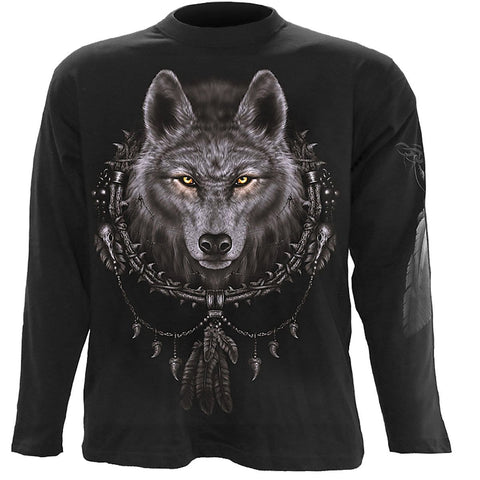 Image of WOLF DREAMS - Longsleeve T-Shirt Black - Spiral USA