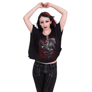 DRAGON ROSE - Boat Neck Bat Sleeve Top Black - Spiral USA