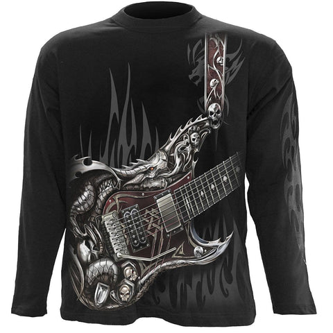 Image of AIR GUITAR - Longsleeve T-Shirt Black - Spiral USA