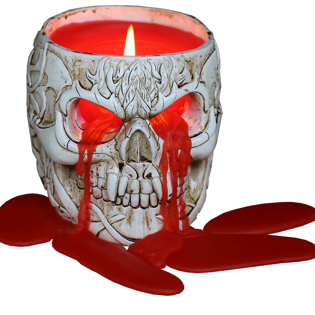 GOTH SKULL - Resin Candle Holder with Wax Candle - Spiral USA