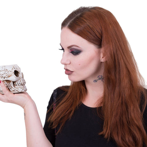 Image of GOTH SKULL - Resin Candle Holder with Wax Candle - Spiral USA