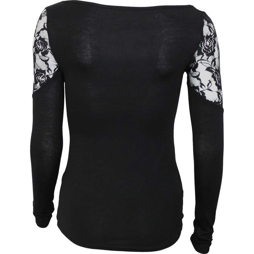 WAISTED CORSET - Shoulder Lace Top Black